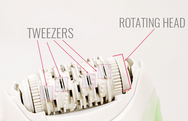 epilator's tweezers and rotating head