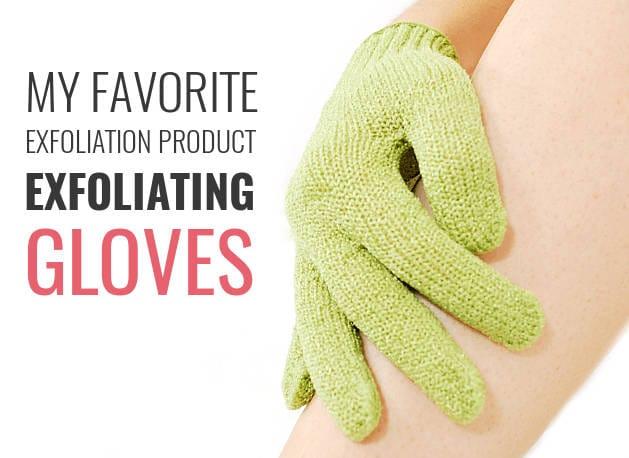 exfoliating gloves on legs